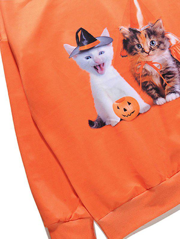 Kitten Pumpkin Halloween One Shoulder Sweatshirt - Orange XL