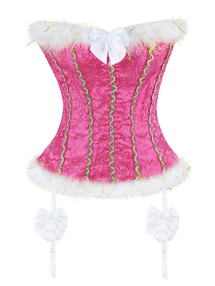 Faux Fur Trim Corset Top - WATER RED XL