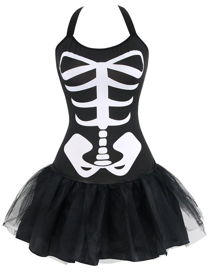 Skeleton Halloween Costume - BLACK 2XL