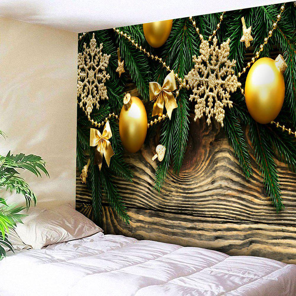 Christmas Baubles Wood Pattern Waterproof Wall Hanging Tapestry - COLORFUL W79 INCH * L71 INCH