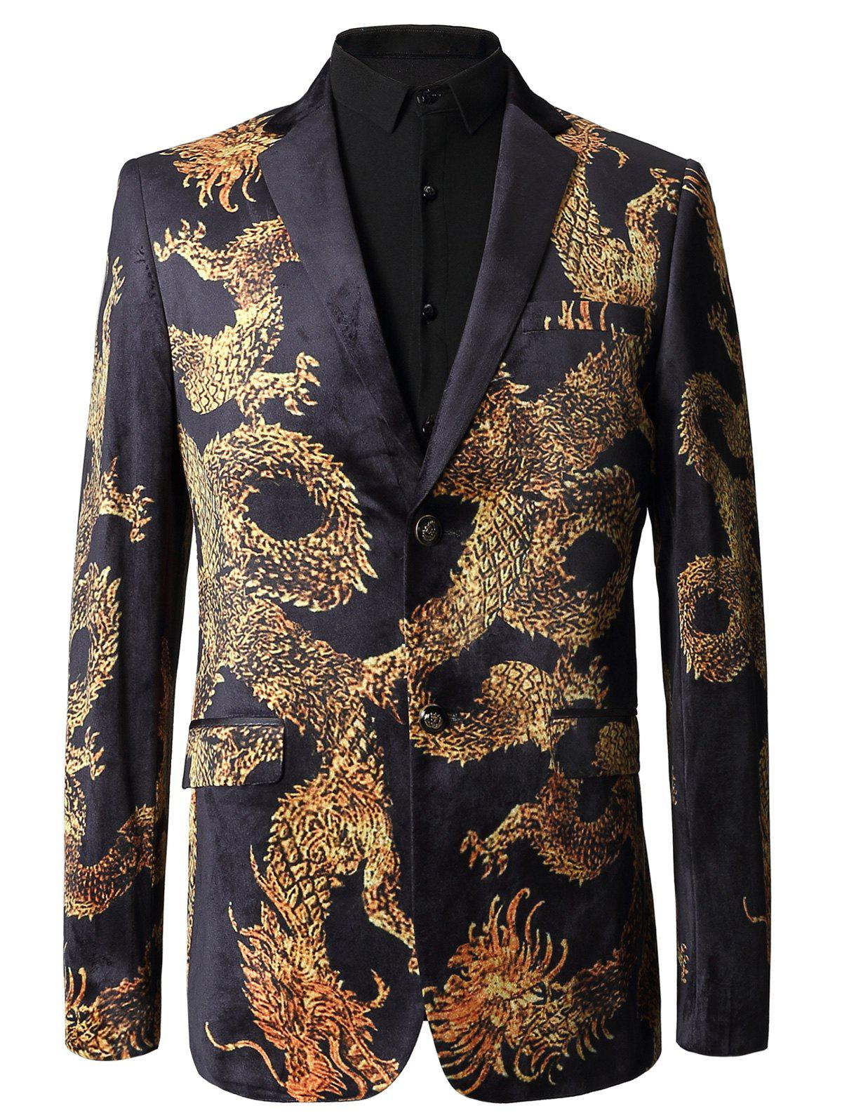 Two Button Dragon Printed Velvet Blazer - COLORMIX 54