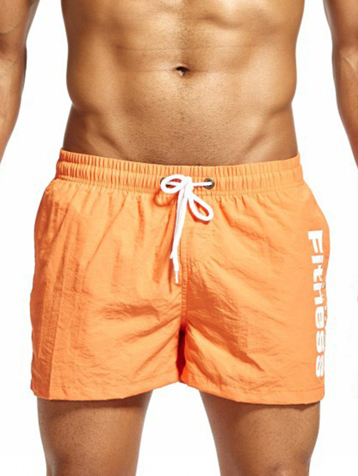 Drawstring Mesh Lining Fitness Shorts - ORANGE M