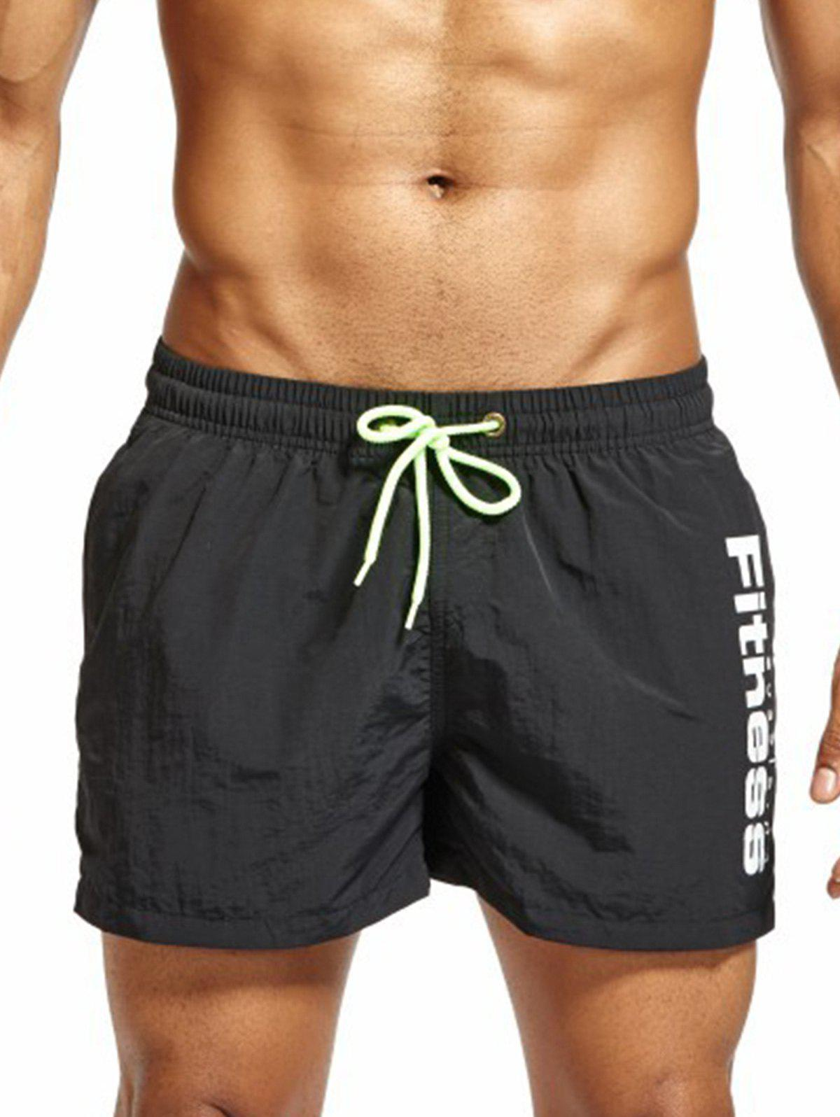 Drawstring Mesh Lining Fitness Shorts - BLACK 2XL
