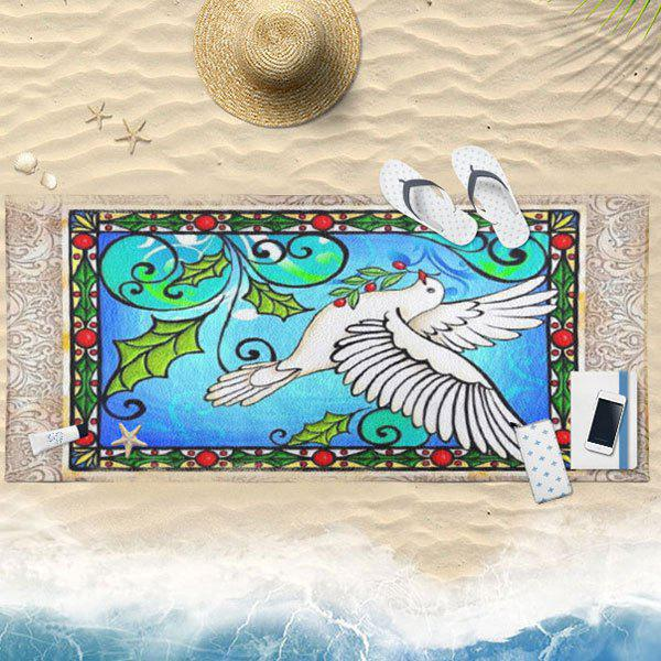 Flying Pigeon Pattern Animal Bath Towel - BLUE 75*150CM