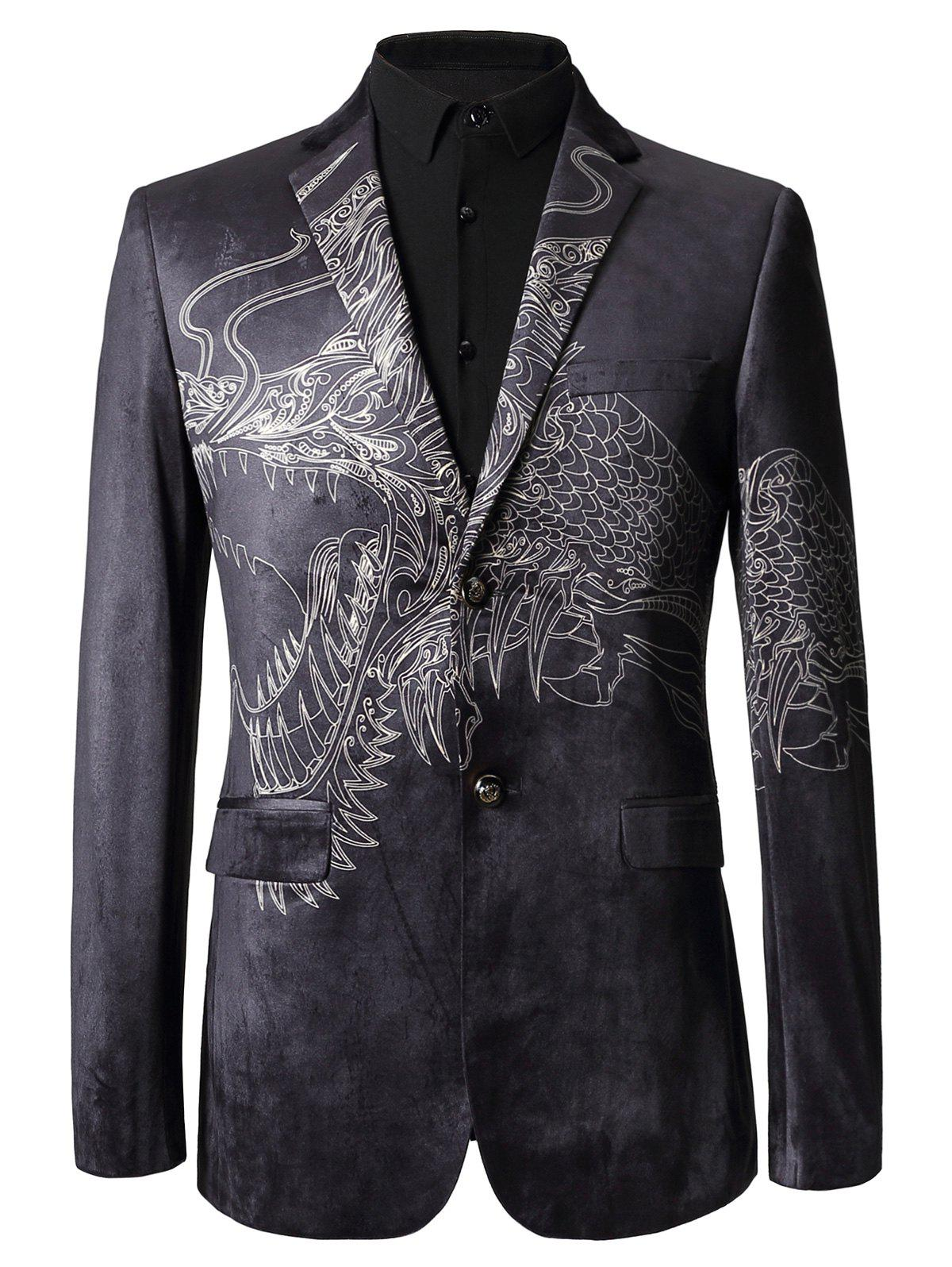 Single Breasted Totem Print Velvet Blazer - COLORMIX 50