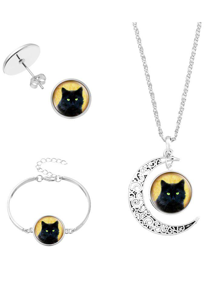 Halloween Cat Moon Necklace Bracelet and Earrings - SILVER