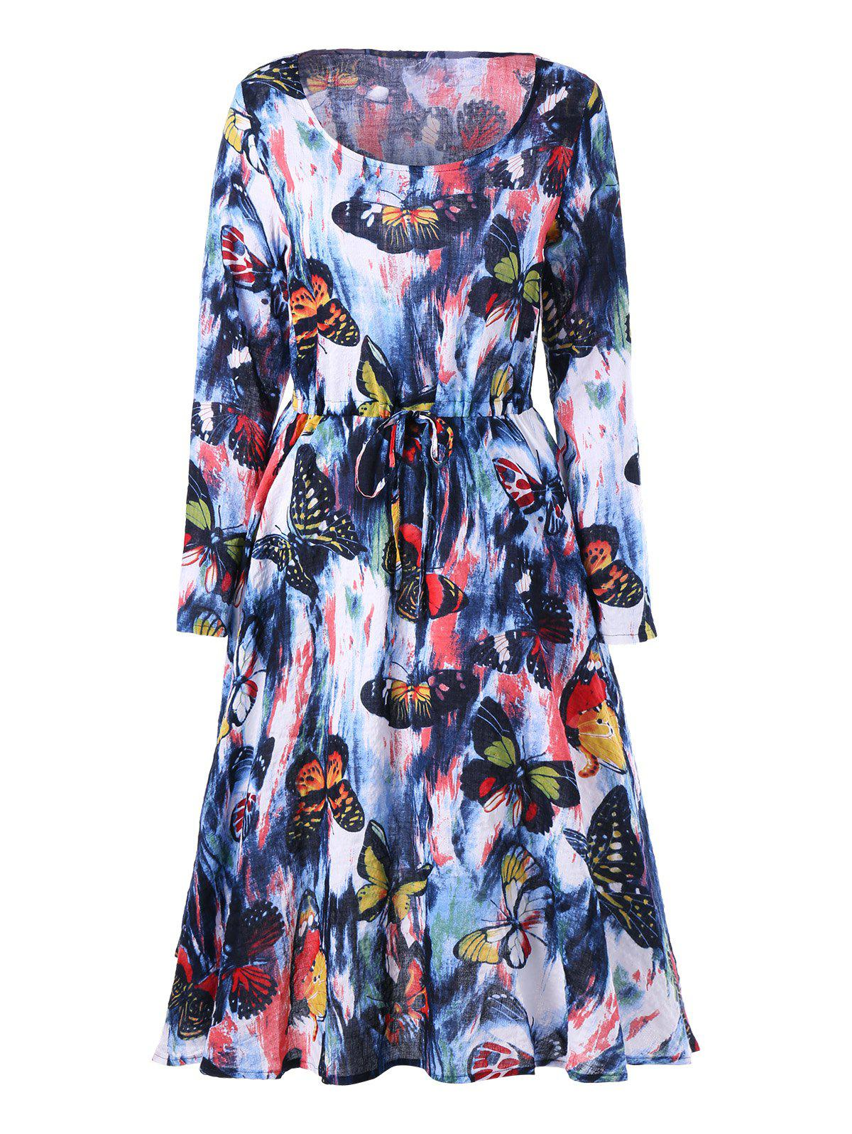 Drawstring Butterfly Printed Long Sleeve Dress - COLORMIX M