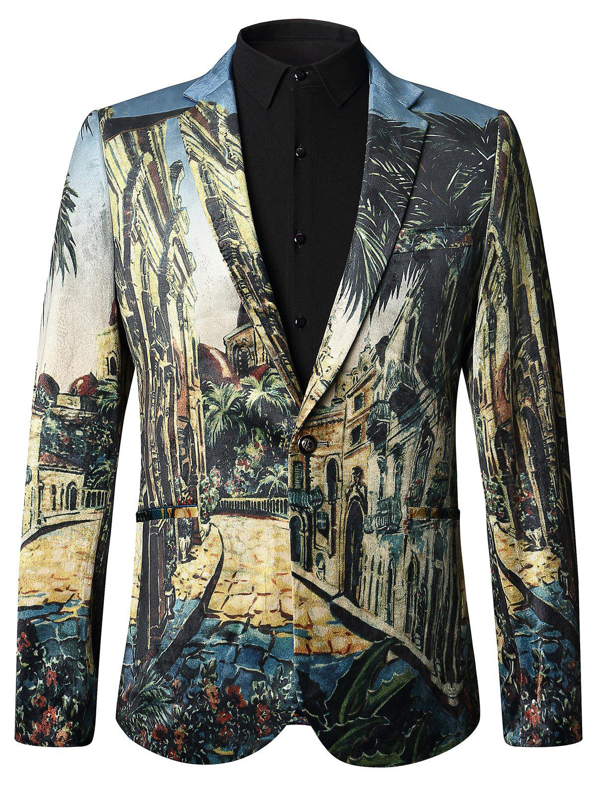 3D Print Single Blessed Velvet Blazer - multicolore 54