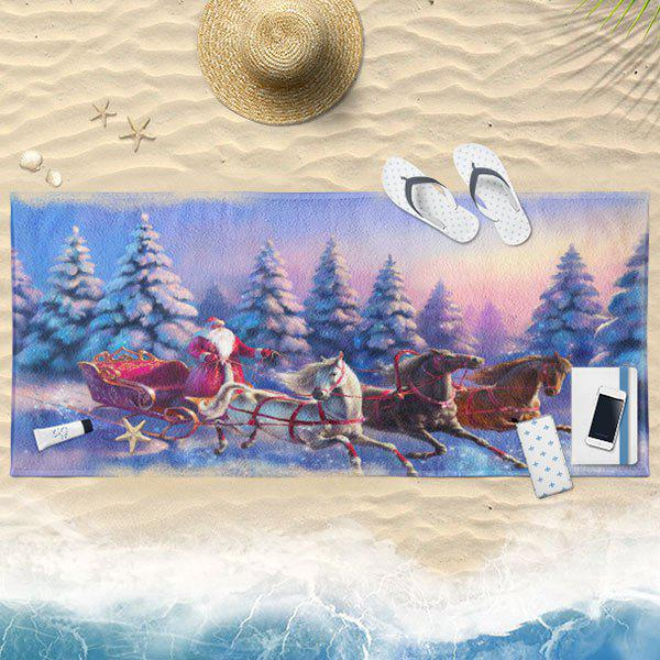 Snow Scenery Santa Claus Christmas Bath Towel - COLORMIX 75*150CM
