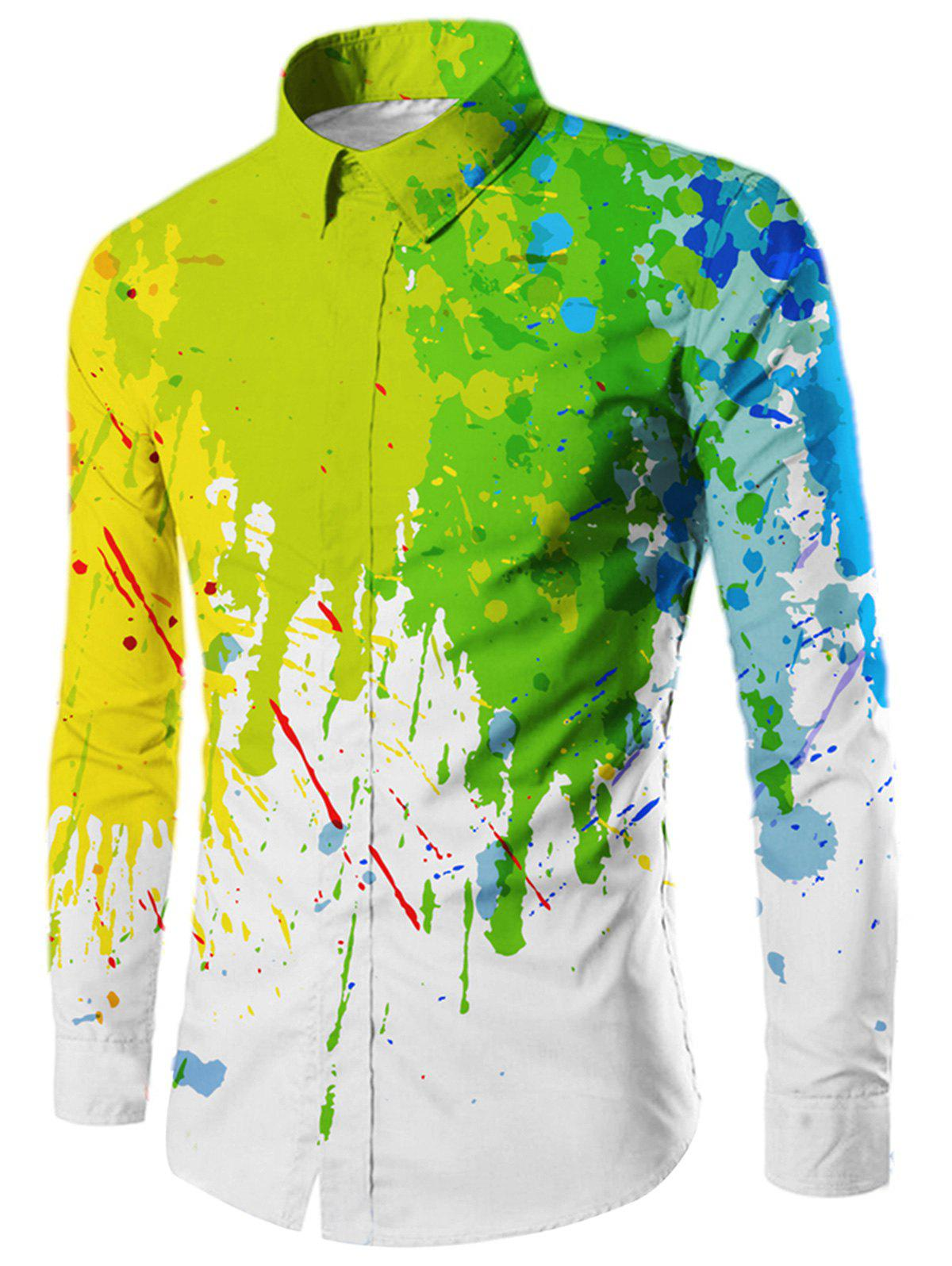 Slim Fit Paint Splatter à manches longues - Blanc L