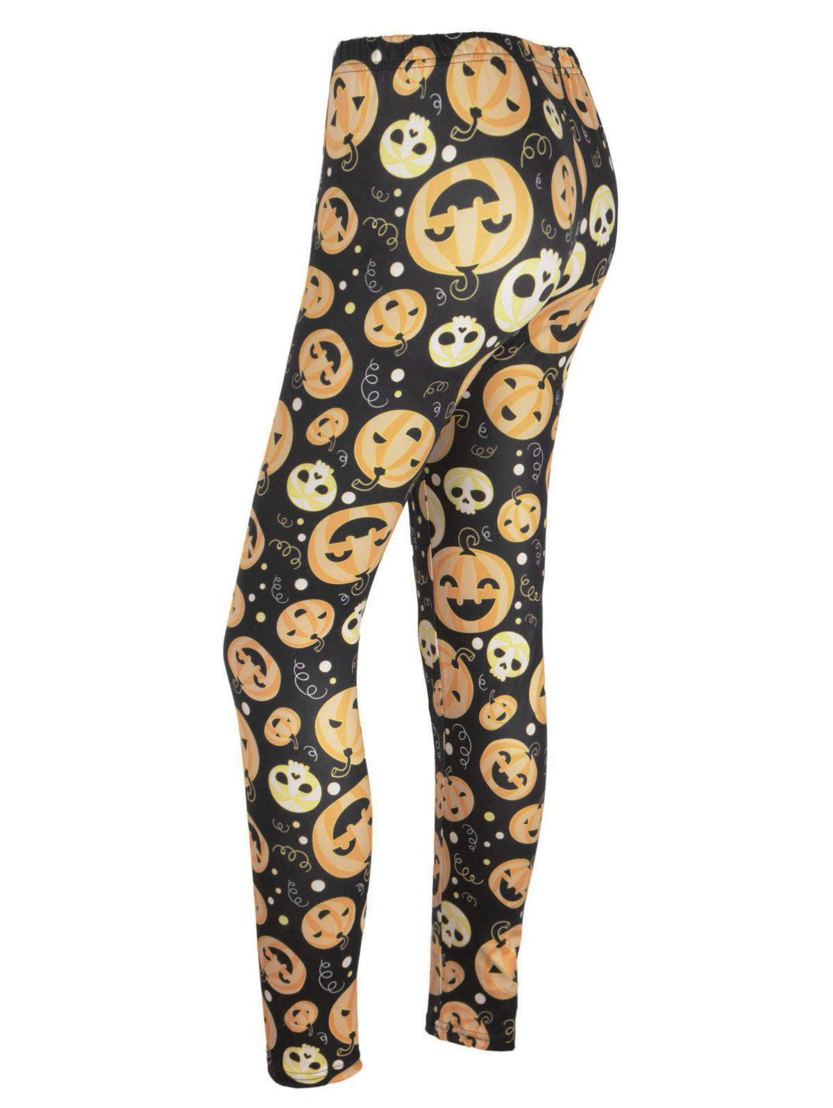 High Waisted Pumpkin Face Print Halloween Leggings - BLACK/ORANGE M