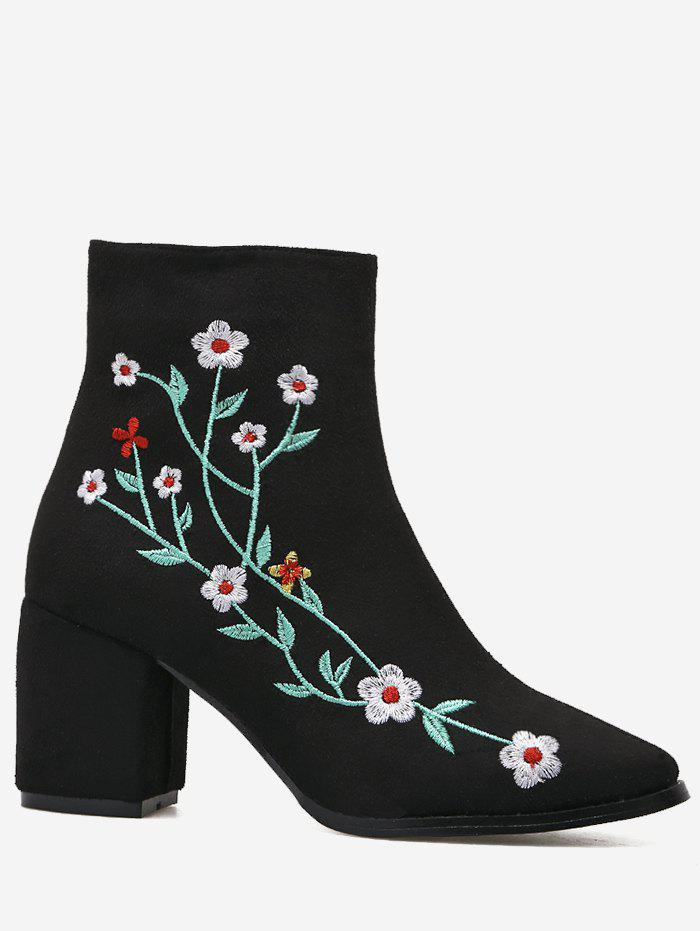 Broderie Floral Chunky Cheville Bottes - Noir 37