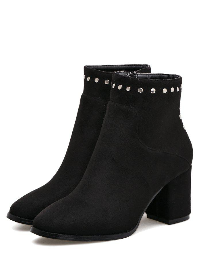 Chunky Heel Rivet Pointed Toe Ankle Boots - BLACK 40