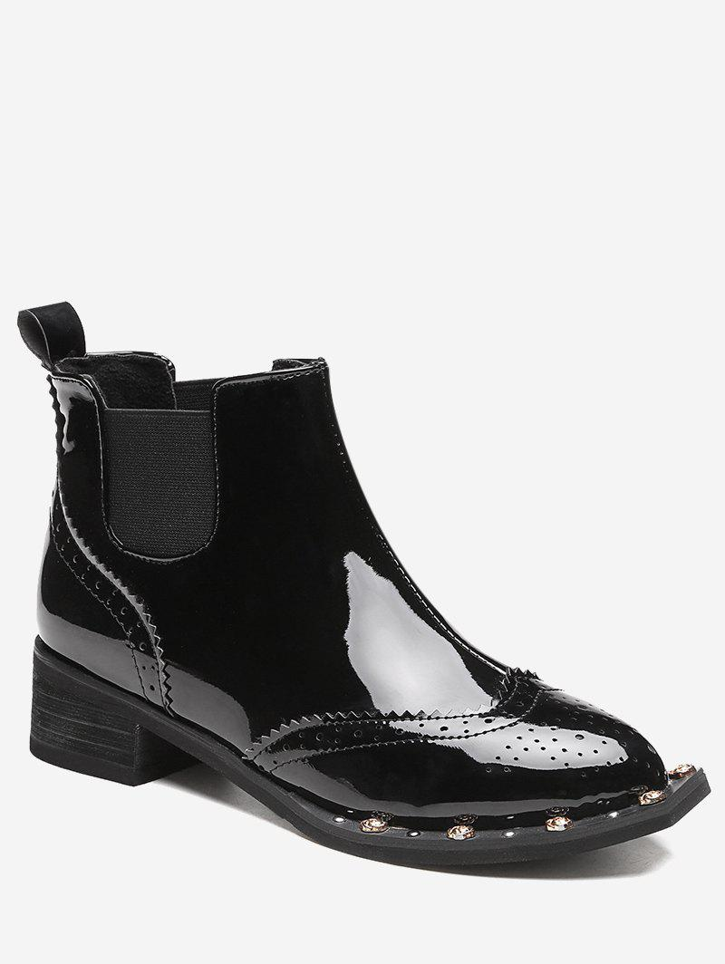 Wingtip Rivet Ankle Boots - BLACK 39