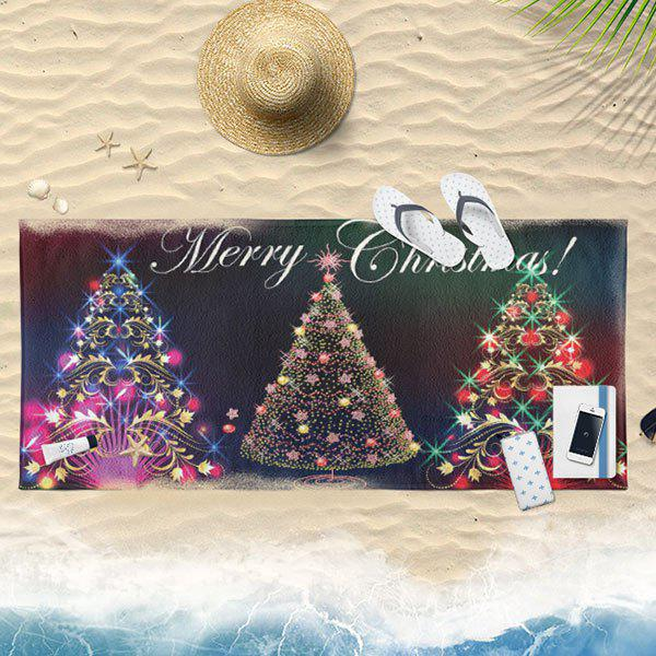 Christmas Tree Print Bath Towel - BLACK 75*150CM