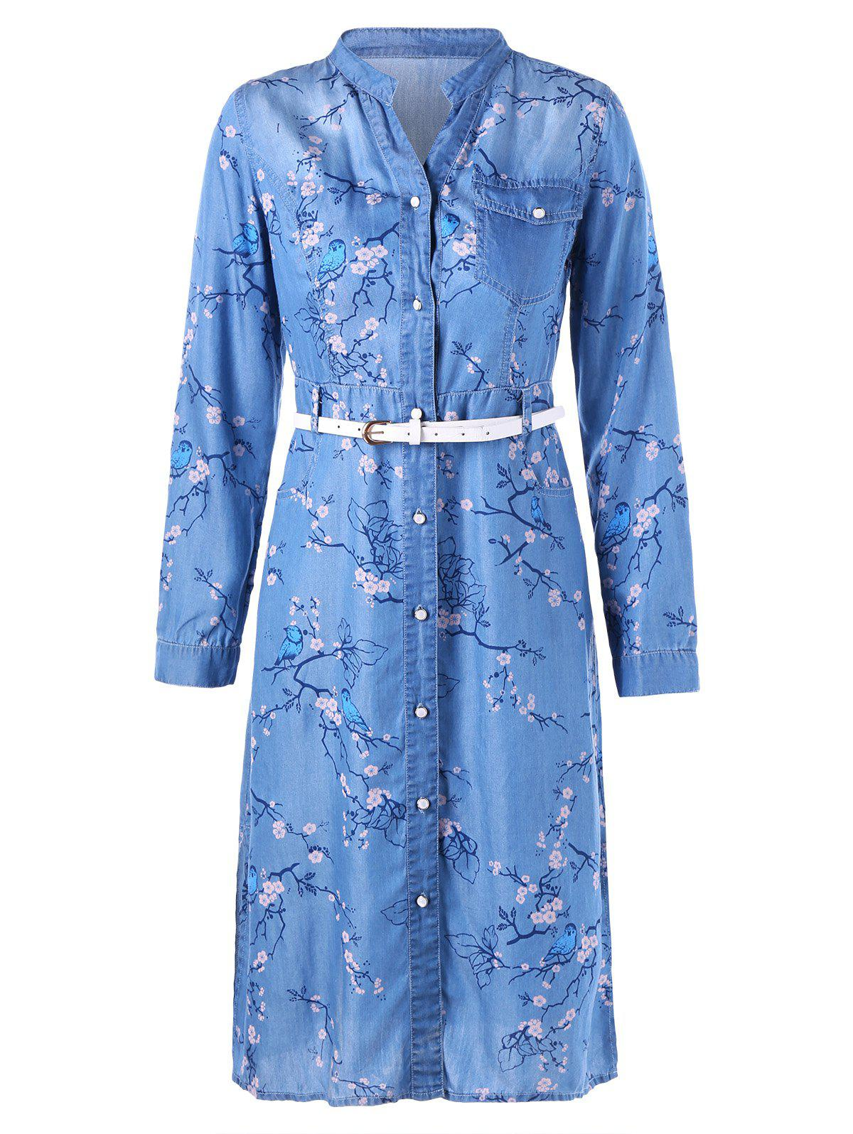 Plum Blossom Print Denim Dress with Belt - BLUE XL