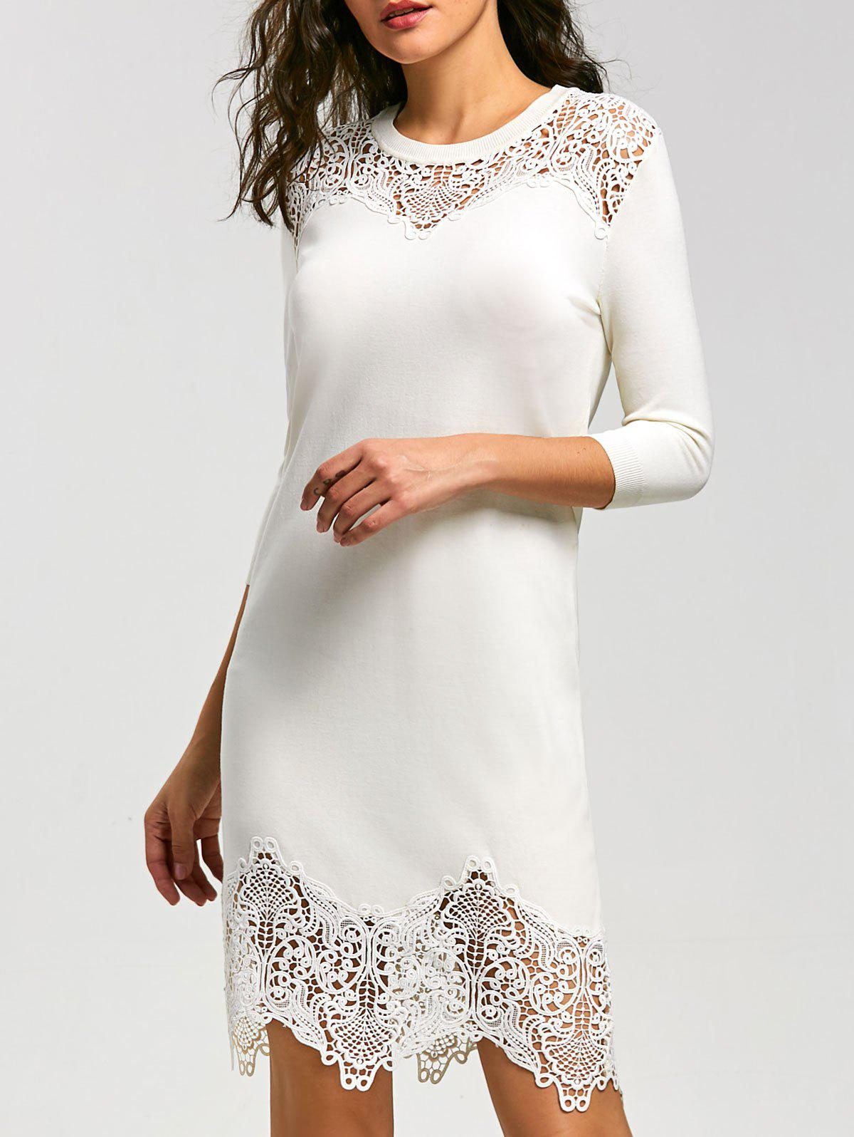 Lace Insert Mini Knit Bodycon Dress - WHITE L