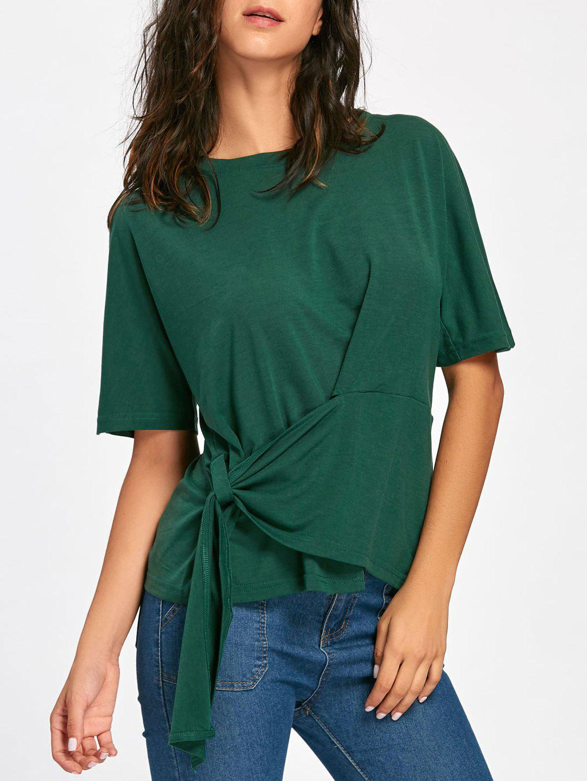 Batwing Sleeve Asymmetrical Front Tie T-shirt - BLACKISH GREEN L