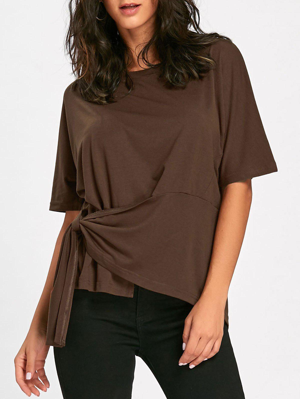 Batwing Sleeve Asymmetrical Front Tie T-shirt - BROWN XL