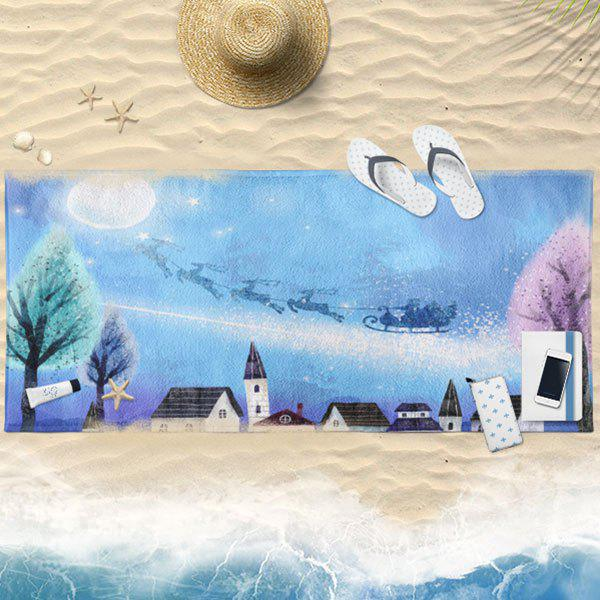 Christmas Sled Snow Scenery Print Bath Towel - CLOUDY 75*150CM