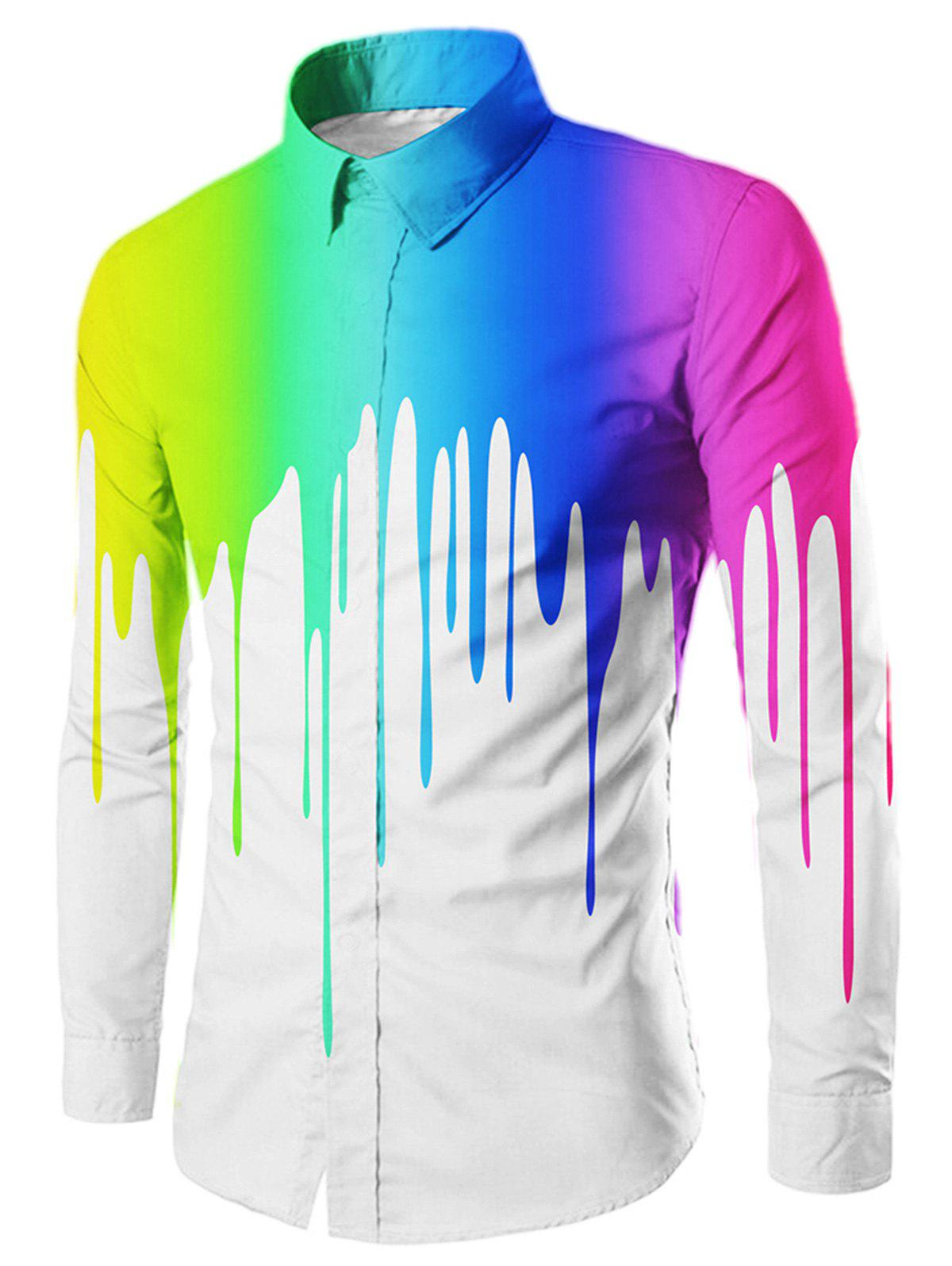 Casual Drip Painted Long Sleeve Shirt - WHITE M