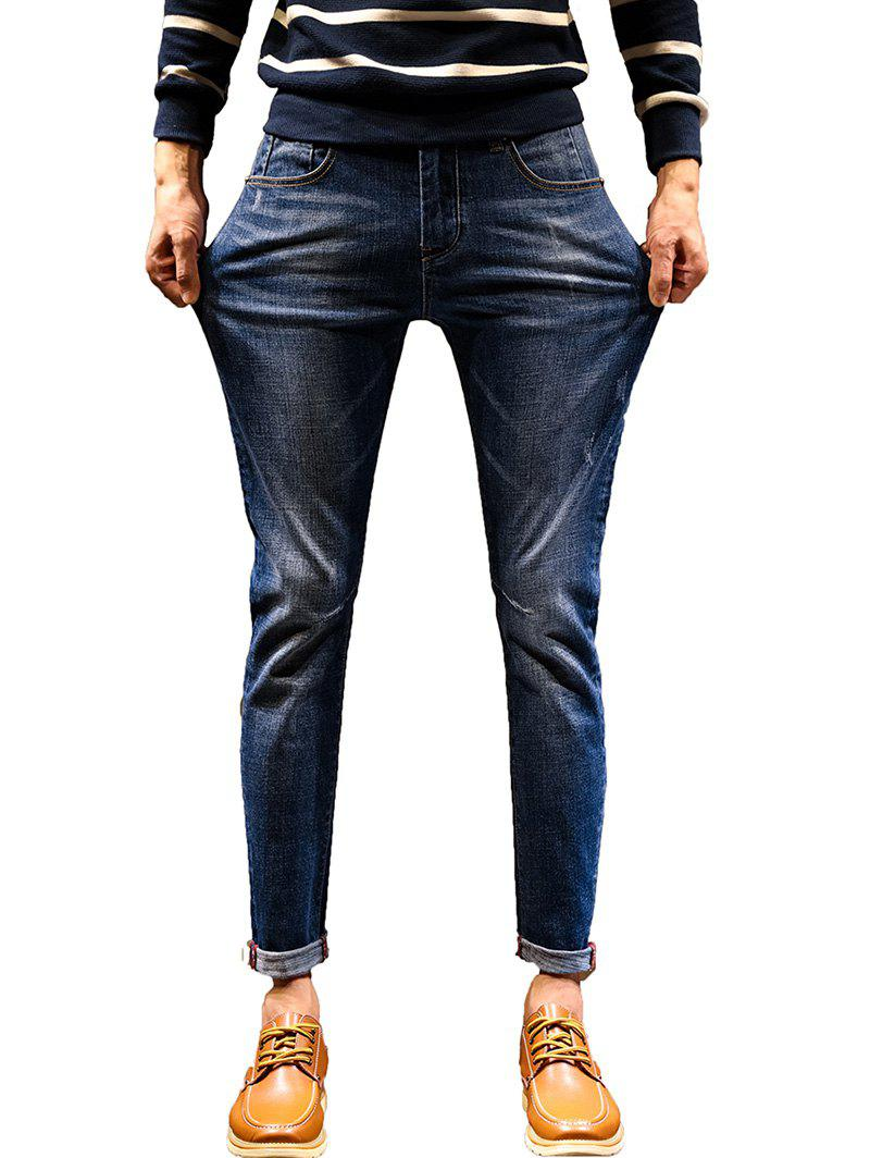 Stretch Zipper Fly Cuffed Jeans - DENIM BLUE 36