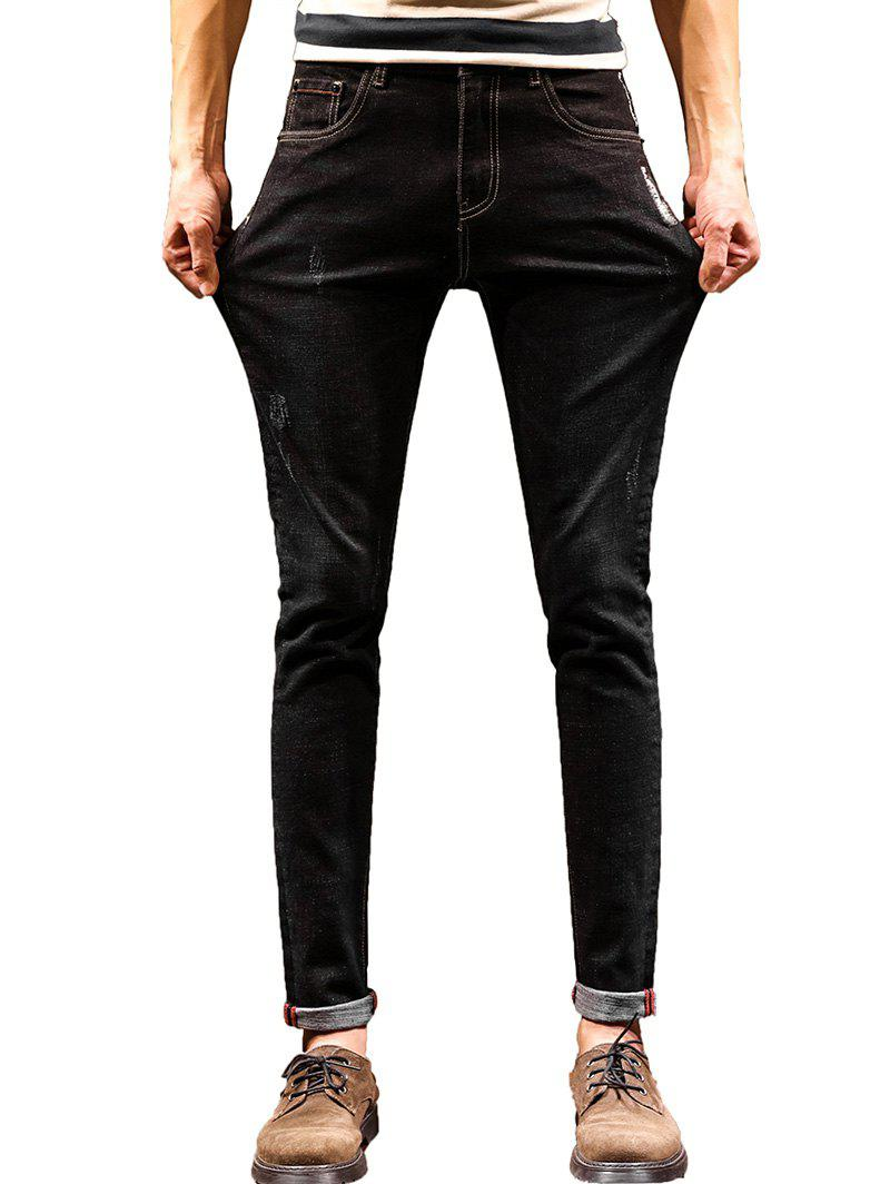 Zip Fly Graphic Print Cuffed Jeans - BLACK 32