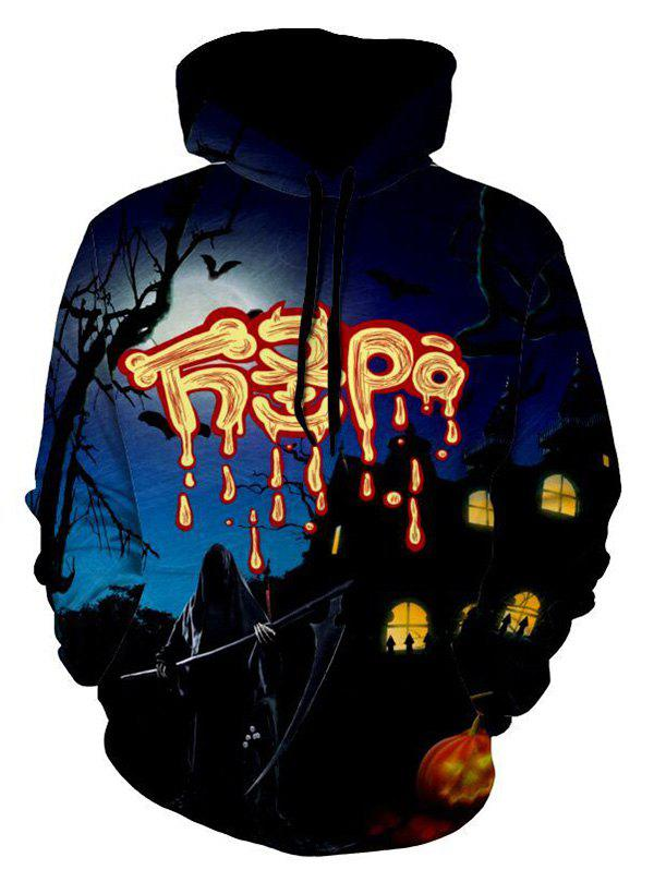 Graphic Print Casual Halloween Hoodie - COLORMIX 3XL