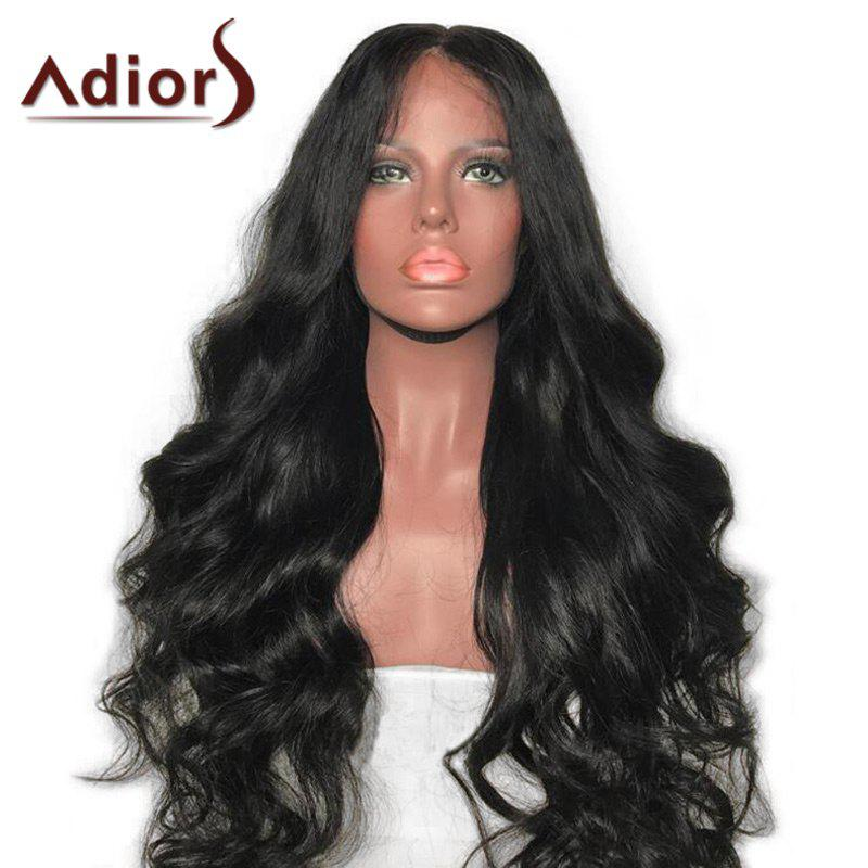 Adiors Long Center Parting Bouffant Body Wave Synthetic Wig - NATURAL BLACK