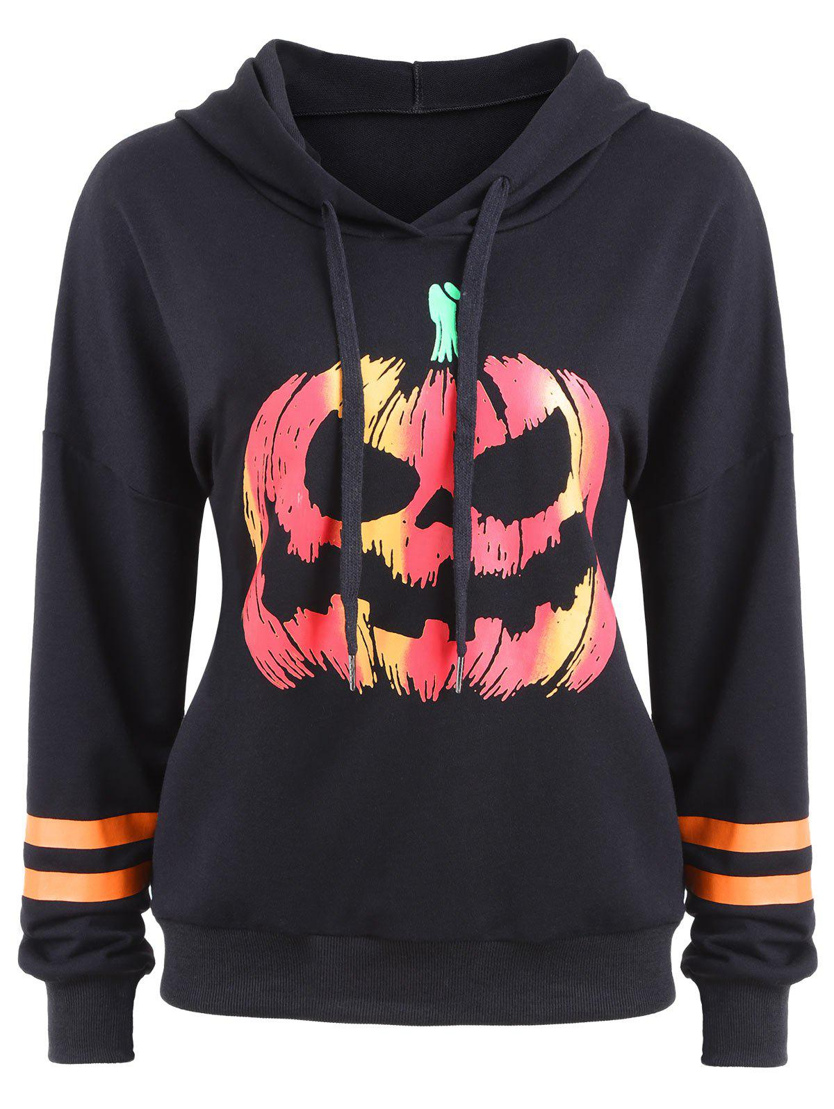 Drawstring Halloween Pumpkin Face Striped Hoodie - Noir S
