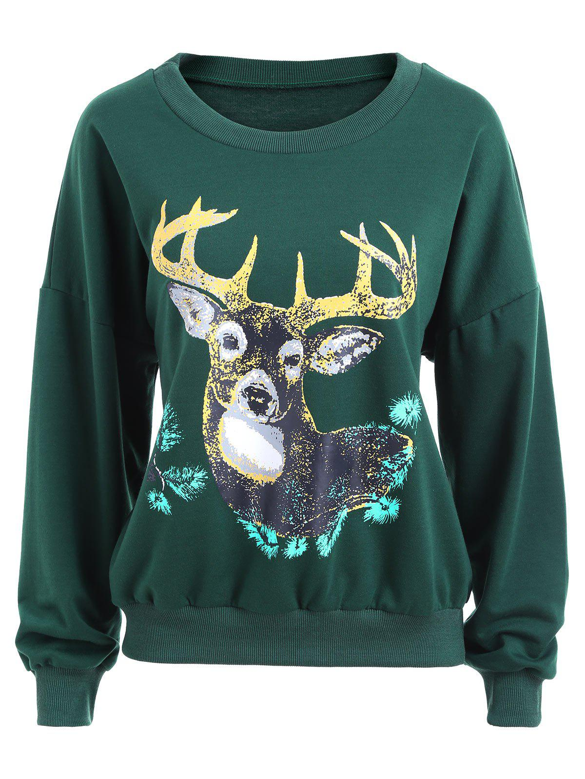 Crew Neck Elk Print Christmas Sweatshirt - GREEN L