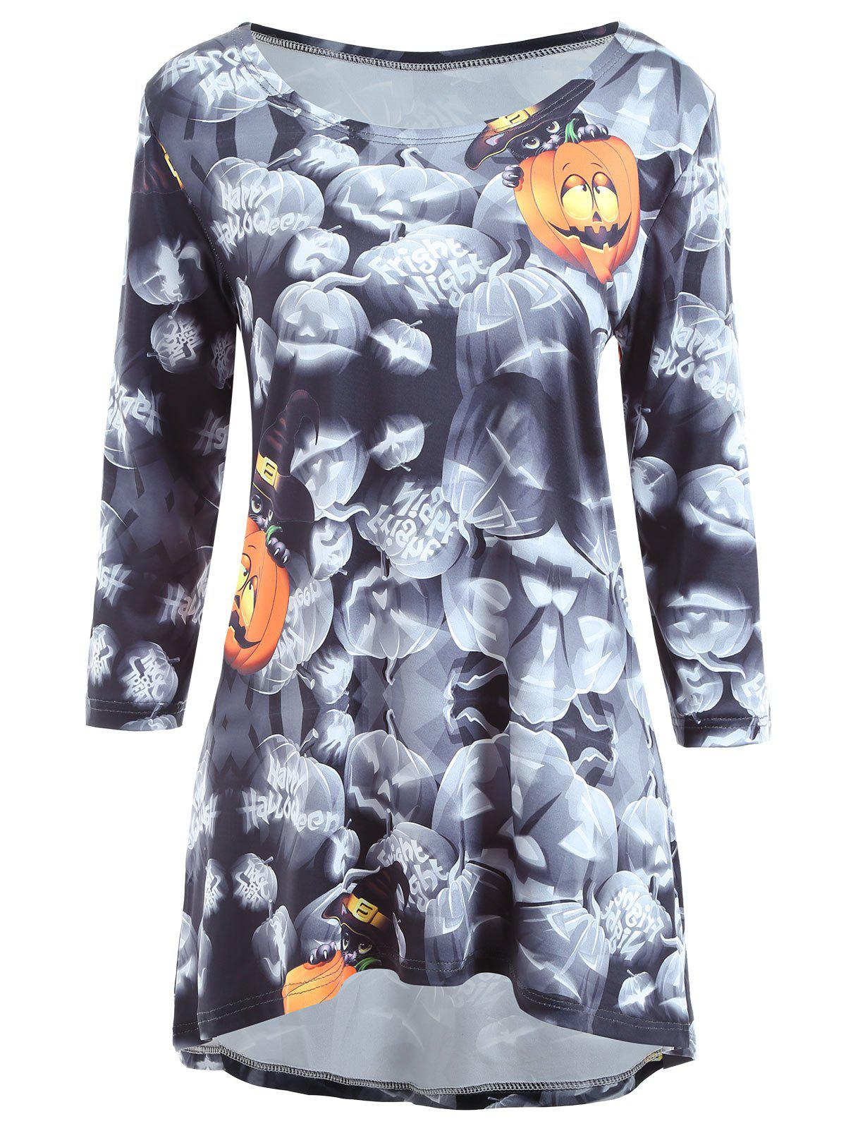 Halloween Pumpkin Print High Low Long Sleeve Dress - COLORMIX L