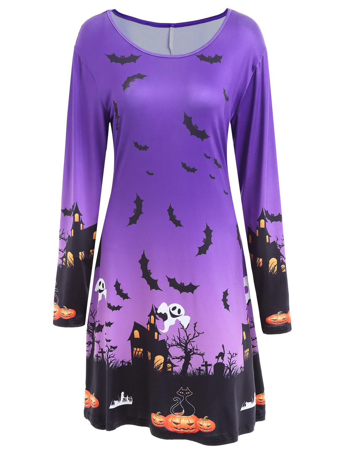 Pumpkin Bat Print Long Sleeve Halloween Swing Dress - PURPLE M