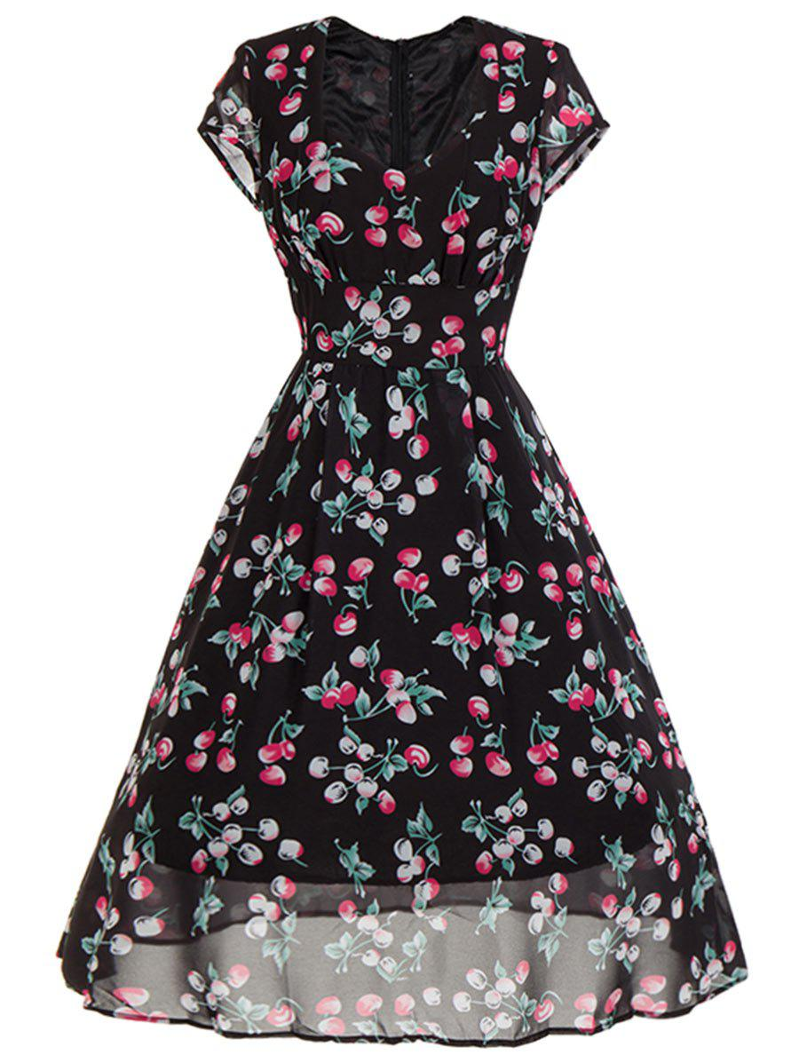 Sweetheart Neck Cherry Print Midi Swing Dress - BLACK L