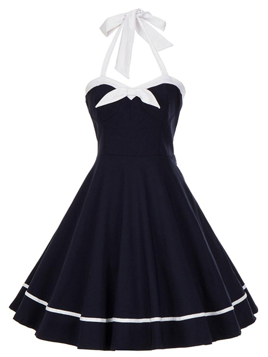 Vintage Halter Bowknot Backless Swing Dress - PURPLISH BLUE 2XL