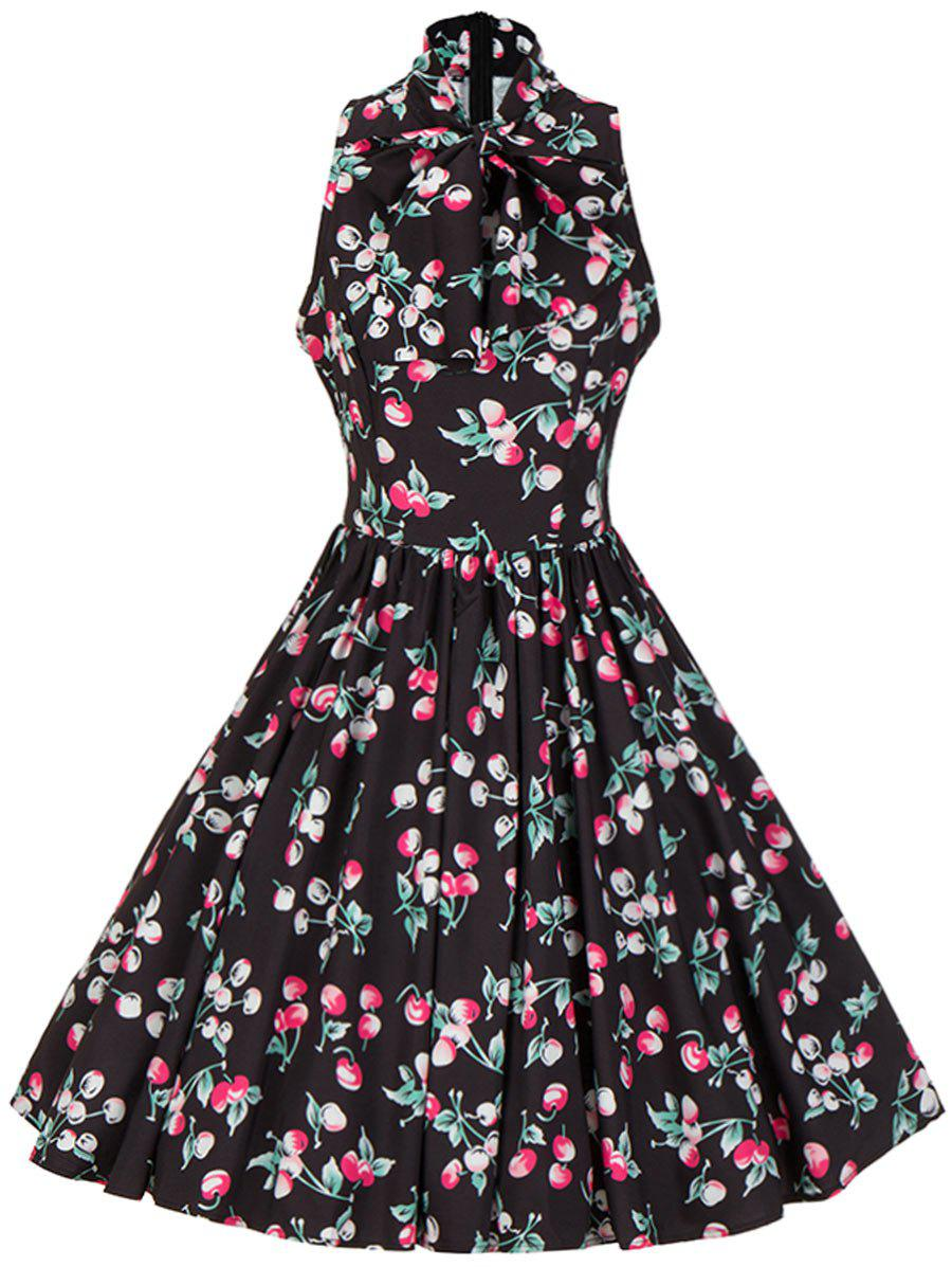 Bow Tie Neck Cherry Print Swing Dress - BLACK 2XL