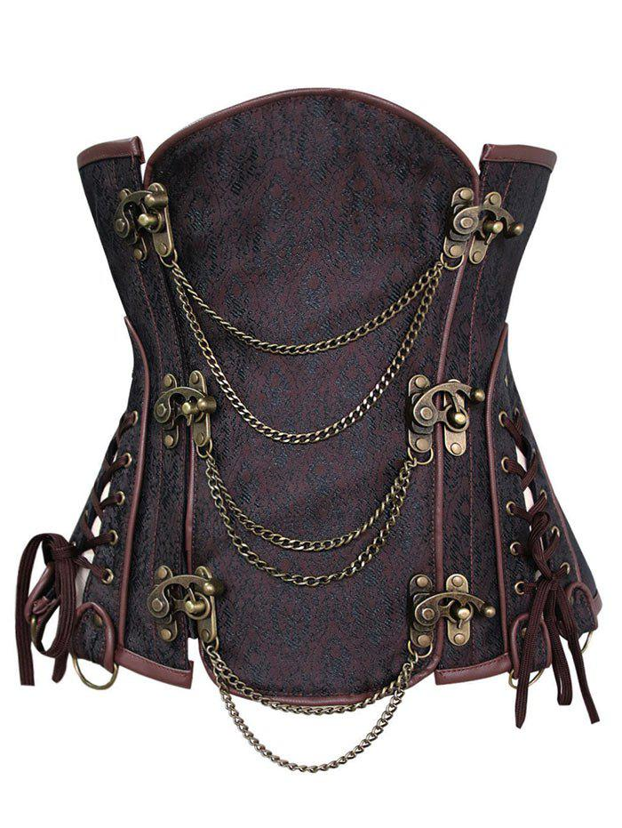 Steampunk Corset with Chains - DEEP BROWN XL