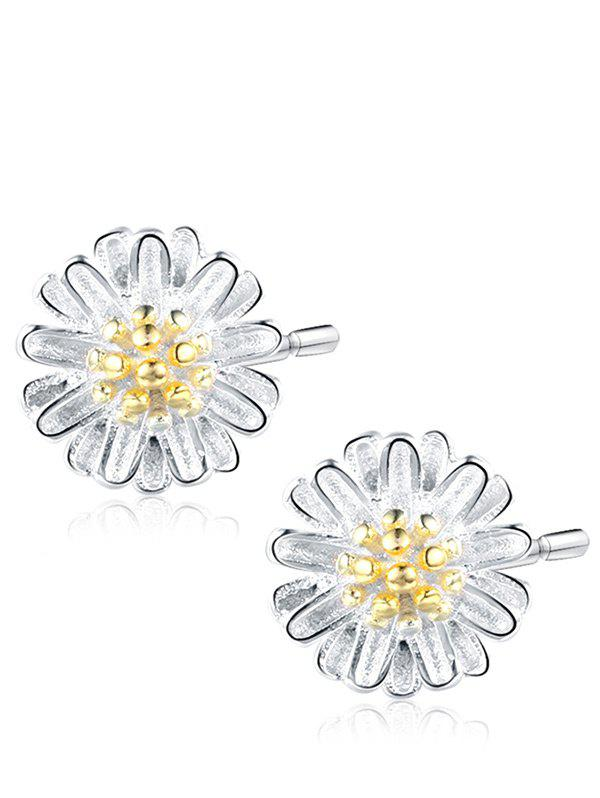 Sterling Silver Flower Tiny Stud Earrings - SILVER