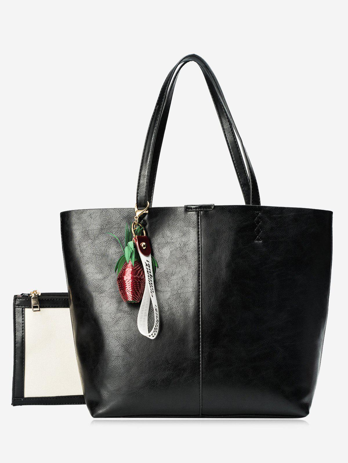 Pendant Pineapple Tote Bag Set - BLACK