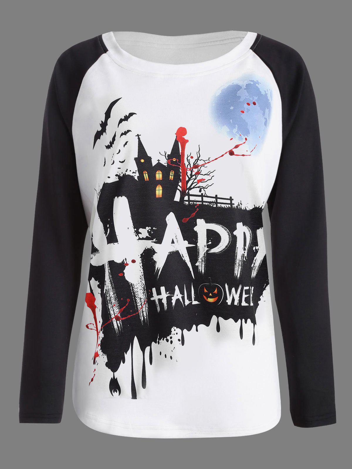 Happy Halloween Pumpkin Print Raglan Sleeve T-shirt - WHITE/BLACK S