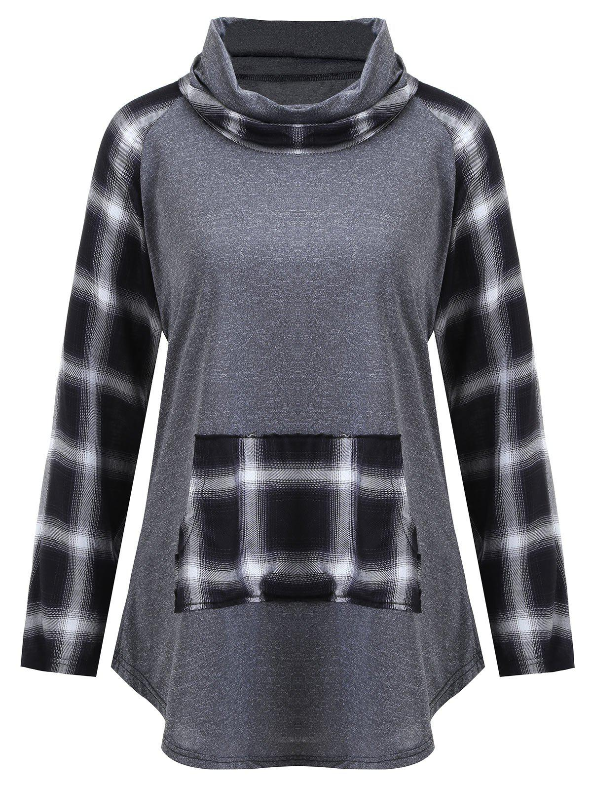 Plus Size Plaid Panel Turtleneck Tee - GRAY 5XL