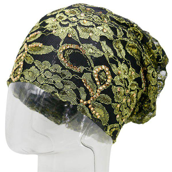 Floral Embroidery Rhinestone Decorated Beanie - GOLDEN