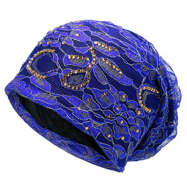 Floral Embroidery Rhinestone Decorated Beanie - BLUE