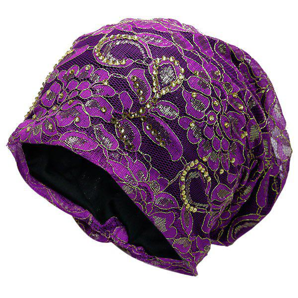 Floral Embroidery Rhinestone Decorated Beanie - PURPLE