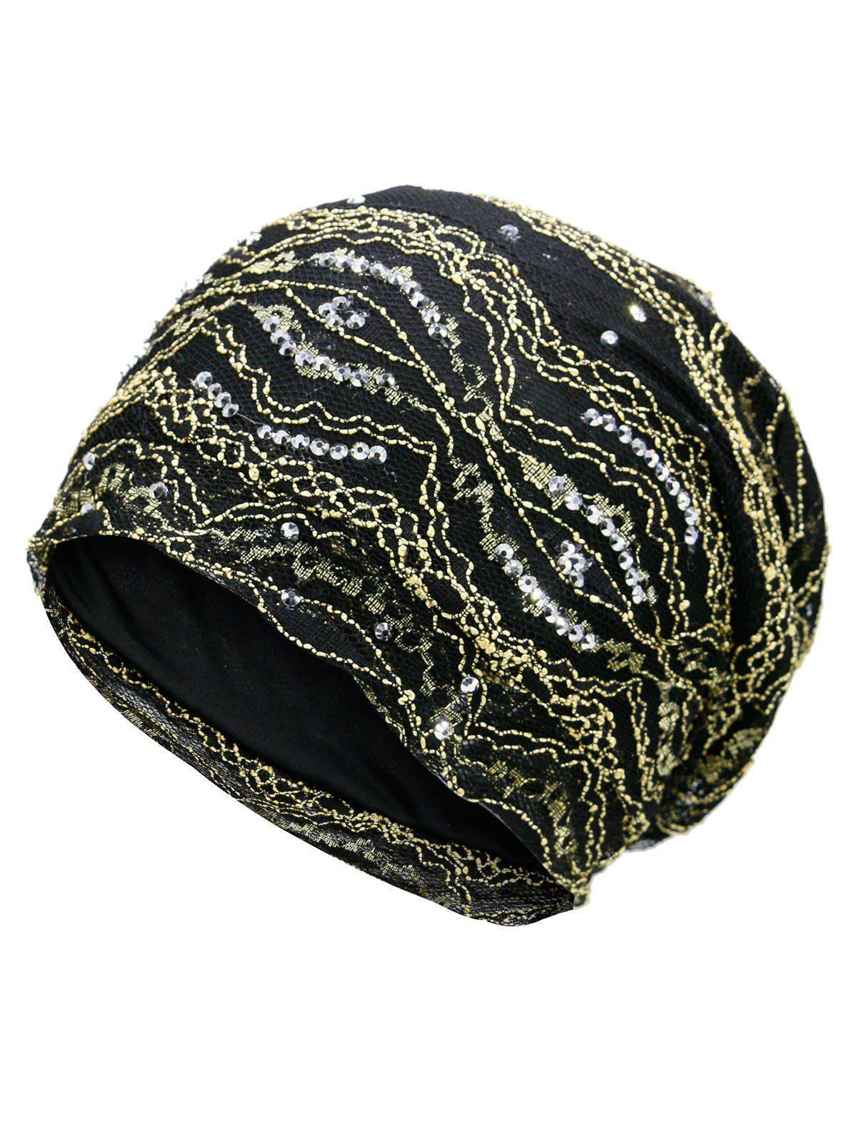 Outdoor Striped Pattern Sequin Embellished Beanie Hat - GOLDEN