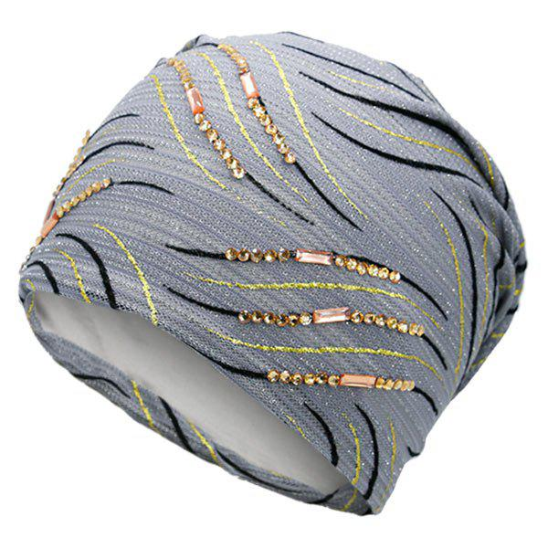 Wave Stripe Design Rhinestone Decorated Beanie - GRAY