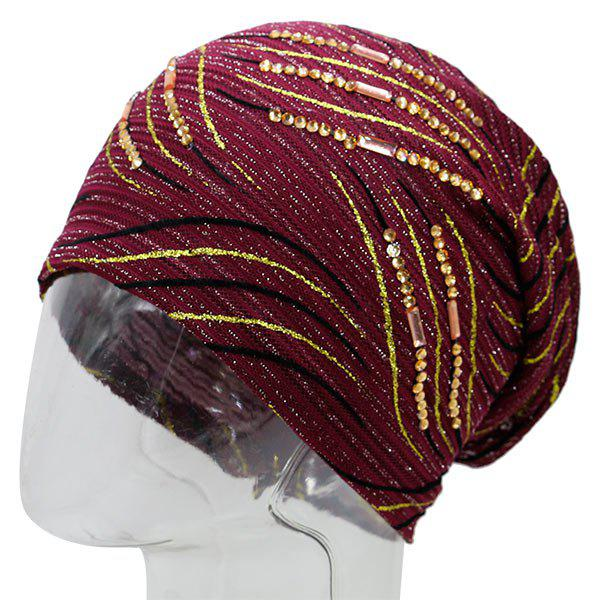 Wave Stripe Design Rhinestone Decorated Beanie - WINE RED