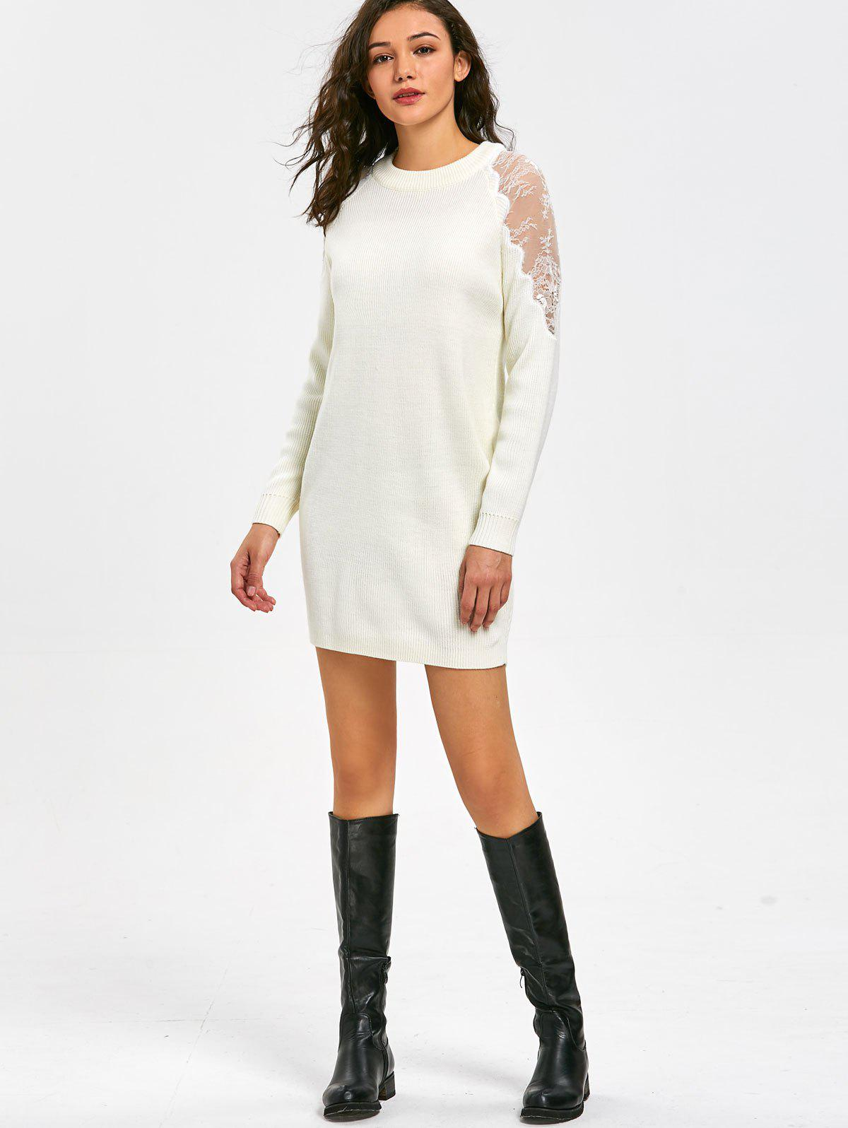 Long Sleeve Lace Panel Short Sweater Dress - WHITE L
