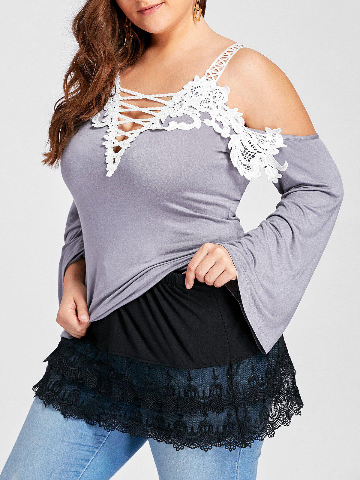 Plus Size Tiered Sheer Lace Extender Skirt - BLACK XL