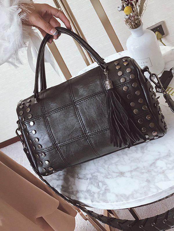 Stud Tassel Quilted Tote Bag - BLACK